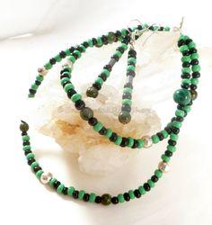 Green Necklace w Black Czech Glass Necklace by EnchantedRoseShop