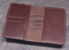 Luxury Cognac Horween Leather Field Notes Wallet with 2 Credit