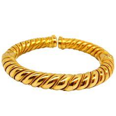 1970s Greek LALOUNIS Gold Torque Bracelet