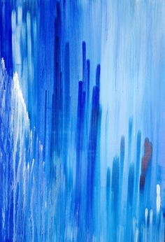 large blue painting, abstract 24X36 stretched canvas, ready to ship, dark blue, light blue, white