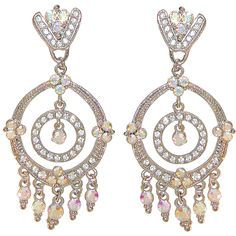 """1.5 x 3"""" Round Dangling Estate Earrings with AB Accents, Fabulous! in Crystal with Silver Tone finish"""