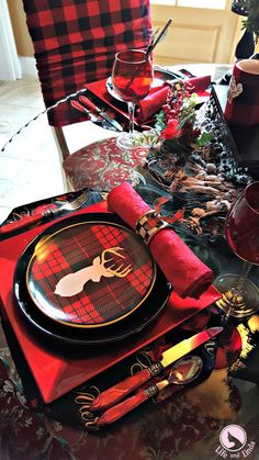Stag Tablescape With Buffalo Plaid | Life and Linda -Blog Design, Decorating, Tablescapes, Gardening