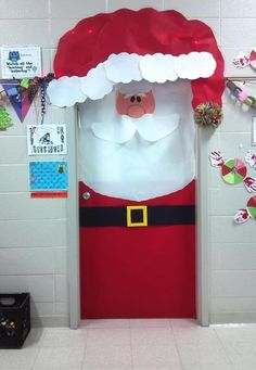 Spread holiday cheer with this easy to make Santa Door decoration! Part of the top 10 Christmas Classroom decorations in Spread holiday cheer with this easy to make Santa Door decoration! Part of the top 10 Christmas Classroom decorations in Preschool Christmas, Christmas Activities, Office Christmas, Christmas Art, Father Christmas, Christmas Cooking, Beautiful Christmas, Christmas Lights, Christmas Ornament