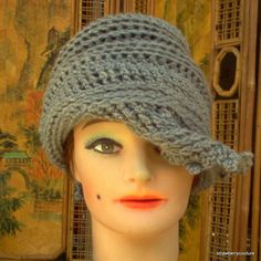 Twisted Crochet Cloche Hat in Gray Acrylic - Caron Simply Soft Yarn $35.00 strawberrycouture on Etsy