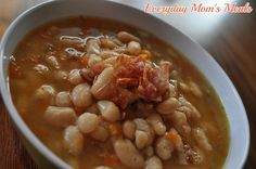 ~Crock Pot Bean & Bacon Soup~ A warm, comforting and delicious meal that cooks all day and reminds me of my childhood! Dinner, Crock Pot Beans, Crock Pots, Childhood Memories, Crockpot Bean, Slow Cooker, Bean And Bacon Soup, Broths, Meal