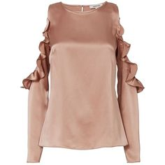 Cushnie Et Ochs Women's Dune Silk Open Shoulder Blouse (€560) ❤ liked on Polyvore featuring tops, blouses, beige silk top, beige silk blouse, cold shoulder blouse, silk blouse and silk top