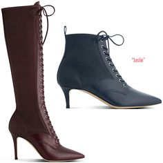 Gianvito Rossi Fall 2014 Collection - ShoeRazzi Leslie lace-up boots available in a kitten heel or over-the-knee style with stretch leather side paneling
