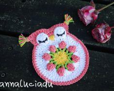 Crochet owl, crochet applique, crochet coasters, crochet tulip, crochet flowers, tulip, handmade tulip,PATTERN - INSTANT DOWNLOAD