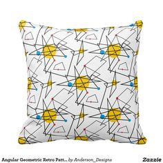 Angular Geometric Retro Pattern Pillow