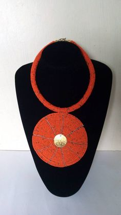 ON SALE African beaded pendant necklace Orange beaded African Tribal Jewelry, African Necklace, African Beads, African Art, Rope Jewelry, Beaded Jewelry, Beaded Necklace, Necklace Chain, Gold Jewellery
