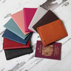 Are you interested in our leather personalised passport holder? With our luxury passport cover gift you need look no further. Passport Cover, Travel Essentials, Mint Green, Blush Pink, Black And Brown, Unique Gifts, Handmade Items, Card Holder, Leather