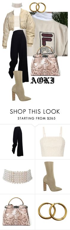 """I AINT SORRY"" by aokichienne ❤ liked on Polyvore featuring The Row, Alice + Olivia, Marina J., adidas Originals, Fendi and Chanel"