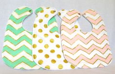 Baby Bib Set - Modern Baby Bib Set - Metallic Chevron and Polkadot Baby Bib Set - Michael Miller Glitz -White Minky Fabric - Handmade Baby on Etsy, $25.00