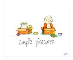 Simple Pleasures - Buddha Doodle by Tiny Buddha, Little Buddha, Buddha Buddha, Gautama Buddha, Buddha Thoughts, Positive Thoughts, Positive Sayings, Buddah Doodles, Buddha Wisdom