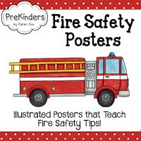 Pre-K Community Helpers Theme Unit — PreKinders Shirt with flames to practice stop, drop, and roll Sheet for children to crawl under to practice crawling under smoke