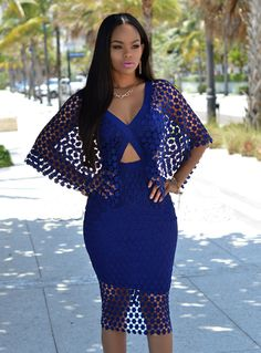 V-neck Lace Hollow Out Backless Mid-Calf Club Dress