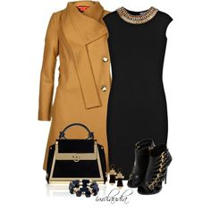 Black Dress and Camel Coat, created by imclaudia-1 on Polyvore