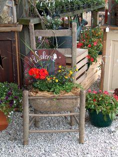 riciclo vecchia sedia 8 that's so nice! Garden Chairs, Garden Planters, Chair Planter, Porch Planter, Window Boxes, Garden Gates, Porch Decorating, Yard Art, Garden Projects
