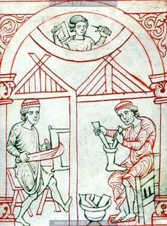 •A tanner and a shoemaker, Reiner Musterbuch (ÖNB 507, fol. 2r), c. 1200-1220