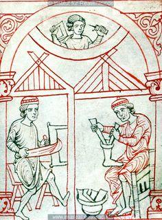 •A tanner and a shoemaker, Reiner Musterbuch (ÖNB 507, fol. 2r), c. 1200-1220