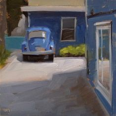 """Daily Paintworks - """"Blue World - SOLD"""" by Carol Marine    This is another little scene from our wanderings around Eugene. I loved all the blue here. The bug is trying to blend in. It's a camouflaging bug. Like a lizard. Heh. 6x6"""