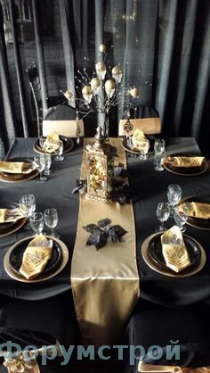 101 Glamorous Gold And Black New Year's Eve Party Decoration Ideas - 70th Birthday Parties, Nye Party, Gatsby Party, 50th Birthday Party, Gold Party, Anniversary Parties, New Years Eve Decorations, Party Table Decorations, Wedding Decorations
