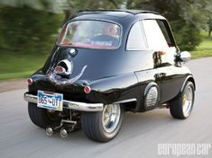 Check out this 1957 BMW Isetta 300 that features a 1989 fj1200 Yamaha motorcycle motor and a top speed of 150 mph. -Eurotuner Magazine