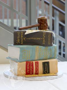 Judge's retirement stack of books cake