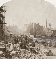 The ruins of Richmond, Virginia, during the American Civil War, 1861.