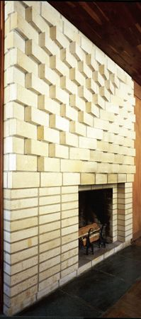 Josef Albers  Fireplace, 1955 brick 8 × 5 ft. (2.4 × 1.5 m) Rouse House, North Haven, Connecticut