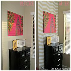 Don't like to paint?  Just use duct tape!  Before and After DIY chevron wall