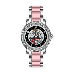 KSD Womens Luxury Unique Zirconia Bezel Stainless SteelPink Ceramic Quartz Wrist Watch Pirate Skull Anchor Wrist Watches * Check out the image by visiting the link. (Note:Amazon affiliate link)