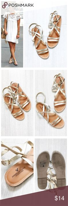 American Eagle Outfitters Gold Sandals Gold strappy sandals with two ankle straps by American Eagle Outfitters. Size 9. Only worn a few times. First photo on left not actual item just showing for style! BUNDLES 20% OFF 🎉 American Eagle Outfitters Shoes Sandals