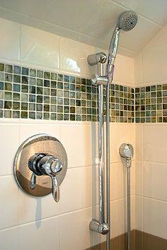 Bathroom inspiration (mosaic glass tile trim in shower)