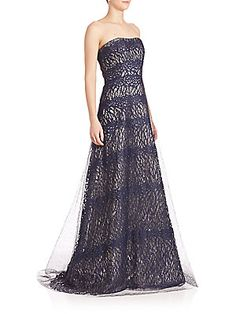 RENE RUIZ Strapless Layered Lace Gown