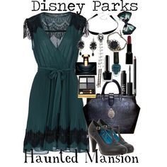 Based on the costume worn by the cast members at Disneyland, Walt Disney World Resort, and Disney Tokyo Resort on the attraction, The Haunted Mansion. Disney Themed Outfits, Disney Bound Outfits, Disney Dresses, Disney Clothes, Disney Inspired Fashion, Disney Fashion, Women's Fashion, Fashion Outfits, Disney Dapper Day