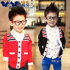 2013 autumn korean children baby boy zhongda boy striped sweater knit cardigan jacket children
