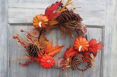Fall Wreath, Autumn Wreath, Thanksgiving Wreath, Fall Décor, Autumn Décor, Thanksgiving Décor by SilvaLiningDesigns on Etsy