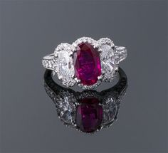 Oval Burma No Heat Ruby and Diamond Ring Platinum (12 x 15mm) R=2.16cts (AGL) + D=2.72cts $75,000