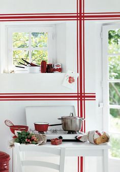 white and red striped kitchen wall- like living in a teatowel world - Camille Soulayrol