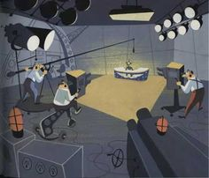 """News reader at a desk in a TV studio, odd perspective  Background painting, artist unknown, from """"Woodpecker from Mars,"""" directed by Paul J. Smith for Walter Lantz Productions. Reproduced from Cartoon Modern."""