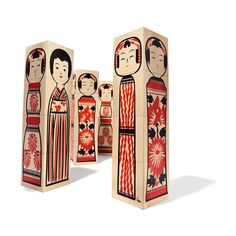Sushi and Japanese Theme: Uncle Goose Japanese Kokeshi Designer Blocks - Heirloom Toys Ink Block, Oriental, Heath Ceramics, Kokeshi Dolls, Designer Toys, Toddler Gifts, Wooden Blocks, Apple Products, Folk Art