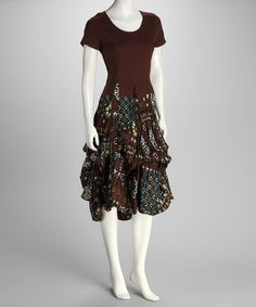 Take a look at this Brown Bubble Dress by Kaktus on #zulily today!