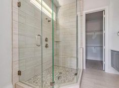 Decorating Ideas Glass shower with porcelain tile bench river rock floor Bistro Tables: Style Icons, Wood Shower Bench, Corner Shower Bench, Shower Chair, Shower Seat, River Rock Floor, River Rock Shower, Master Bathroom Tub, Modern Bathroom, Bathrooms
