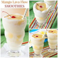 Mango Lava Flow Smoothies - swirl mango puree and a pina colada smoothie for a healthy breakfast or snack recipe for the whole family made with @dolesunshine! #ad Gluten free, dairy free option. | cupcakesandkalechips.com