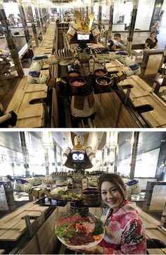 The Hajime Restaurant in Bangkok is Thailand's first Japanese robot restaurant, where all the serving waiters are robots.