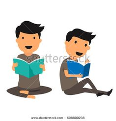 Smiling man sitting on a floor and reading a book isolated, cartoon education concept vector illustration.