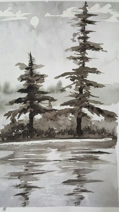 Watercolor lake scene
