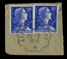 FRANCE - 1958 - Yv.1011B x2 OBLITÉRÉS CONVOYEUR-LIGNE   ROUEN À PARIS 2°