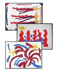 Patriotic Colors Cut Paper Abstract Collage - fun and easy art lesson to use around any patriotic holiday!
